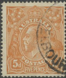 SG 23b ACSC 123r. KGV Head 5d Brown Comb Perf